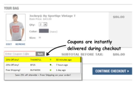 Coupons at Checkout chrome