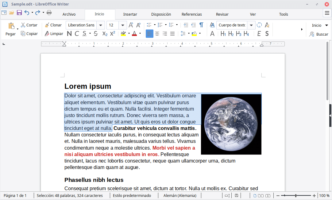 LibreOffice Writer procesador de text