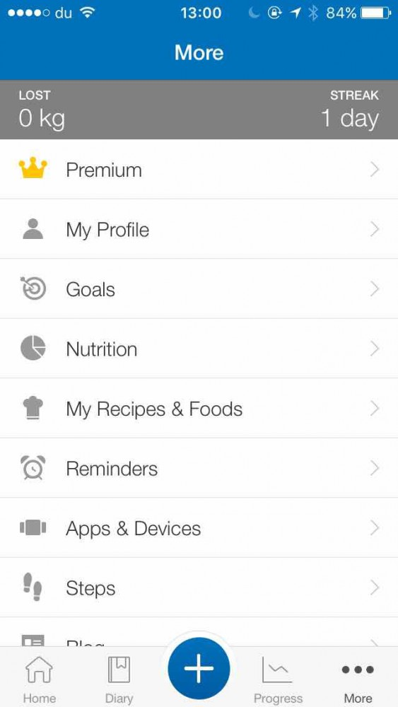 Pantalla de la aplicación MyFitnessPal en el blog de la plataforma social de fitness inKin